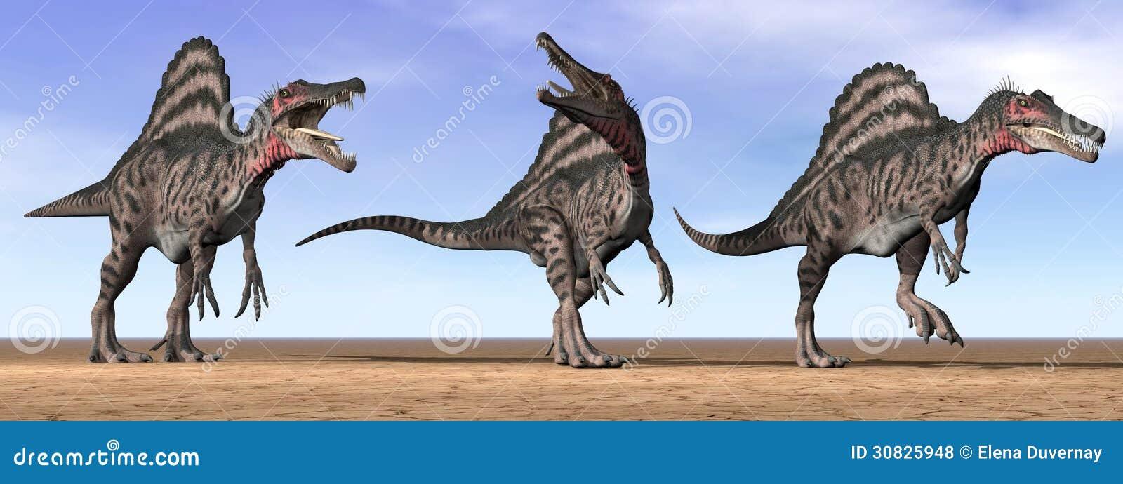 Dinosauri di Spinosaurus nel deserto - 3D rendono
