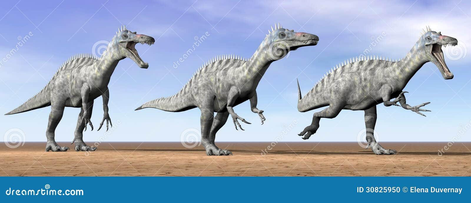 Dinosauri di Suchomimus nel deserto - 3D rendono