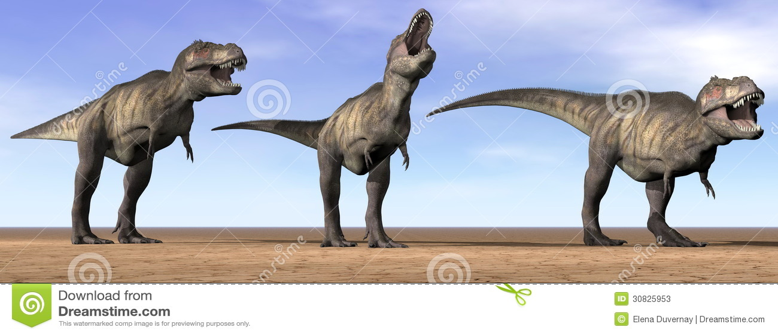 Dinosauri di tirannosauro nel deserto - 3D rendono