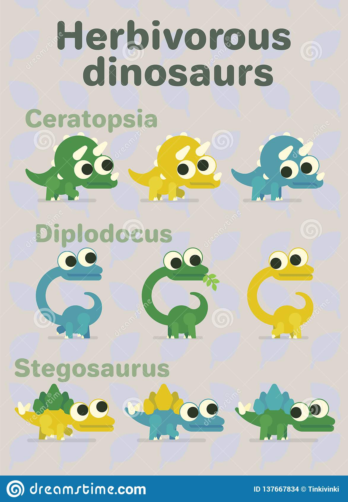Dinosauri erbivori Illustrazione di vettore dei caratteri preistorici nello stile piano del fumetto su fondo neutrale