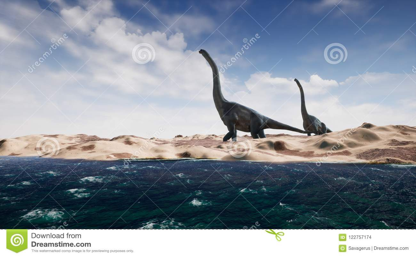 Dinosauri nel periodo preistorico sul paesaggio della sabbia rappresentazione 3d