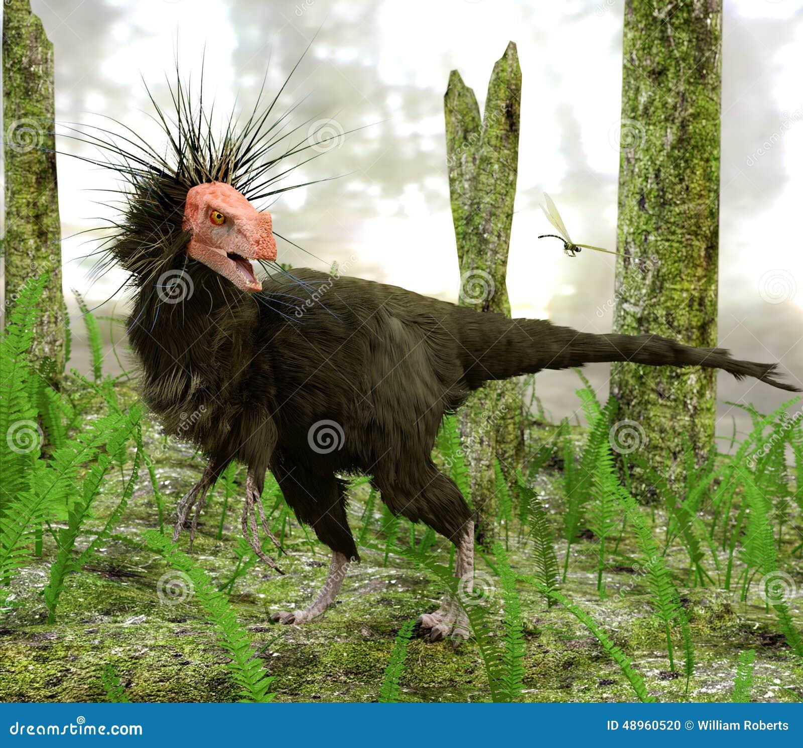Dinosaurie Ornitholestes i träskskog