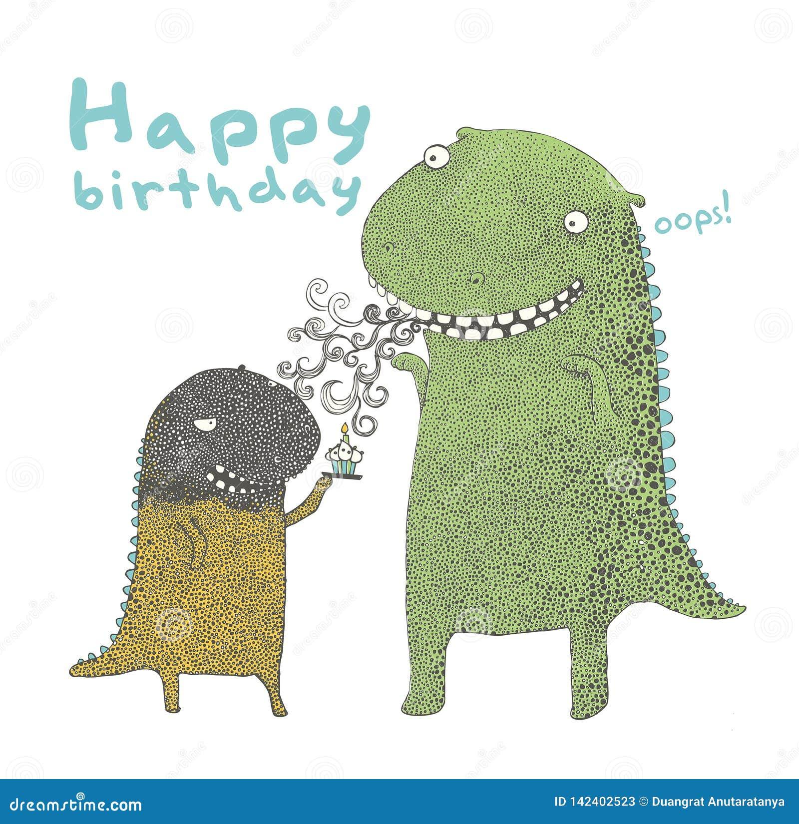 Dinosaurien för den lyckliga födelsedagen, gör en önska, lycklig födelsedag till dig, vektor