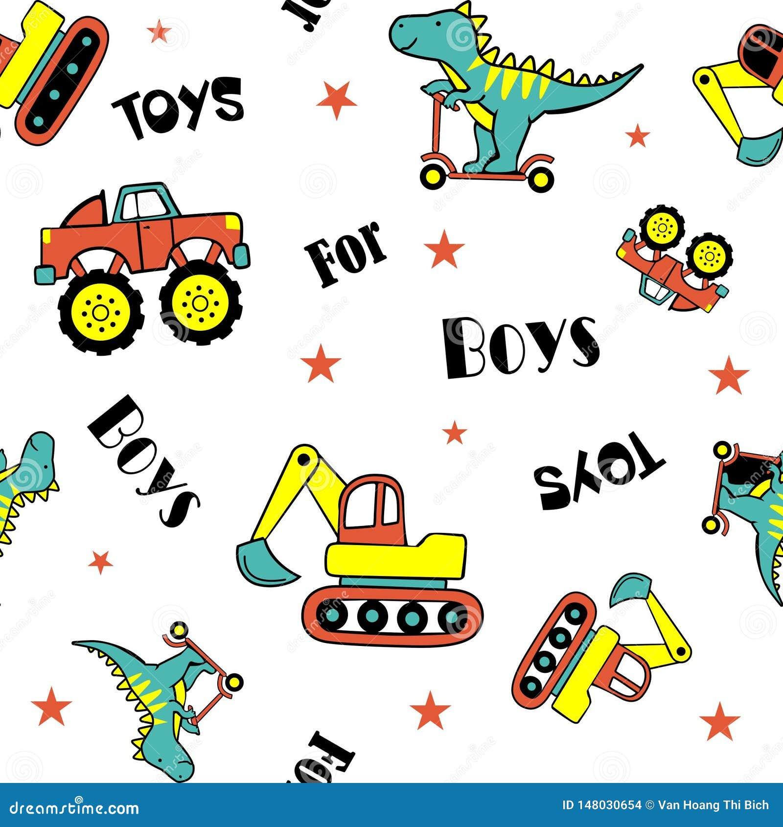 Dinosaurier, der Roller und Autos spielt