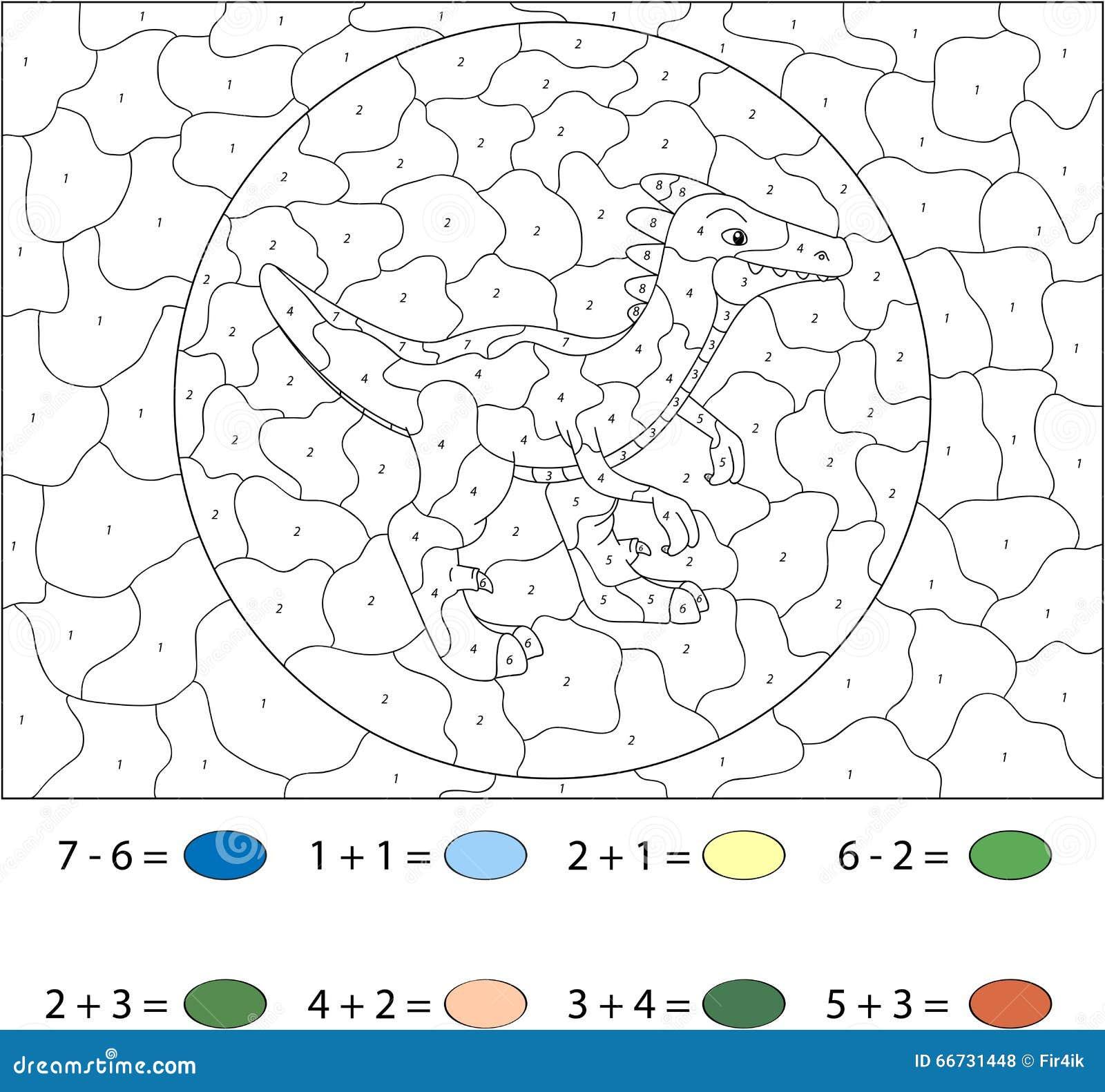 Dinosaurio De La Historieta Color Por El Juego Educativo Del Número ...