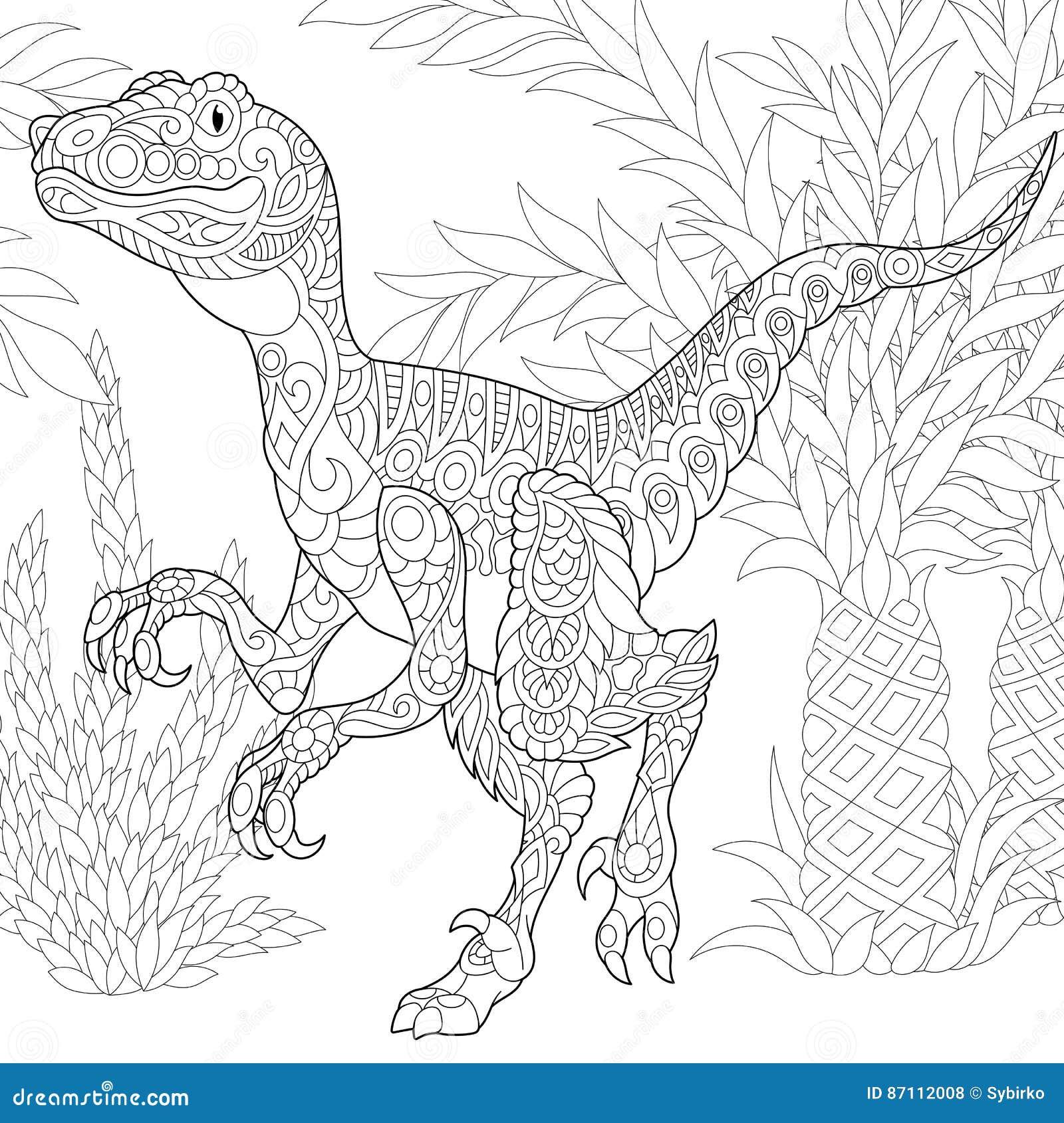 Dinosaurio Del Velociraptor De Zentangle Ilustración del Vector ...