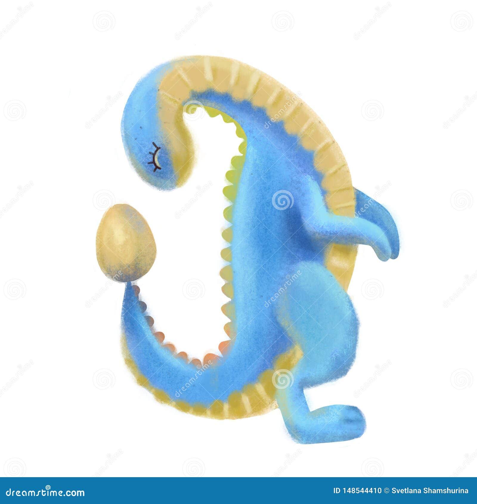 Dinosaurio lindo azul y amarillo que mira en el huevo Ejemplo texturizado en colores pastel de Dino de la historieta exhausta de