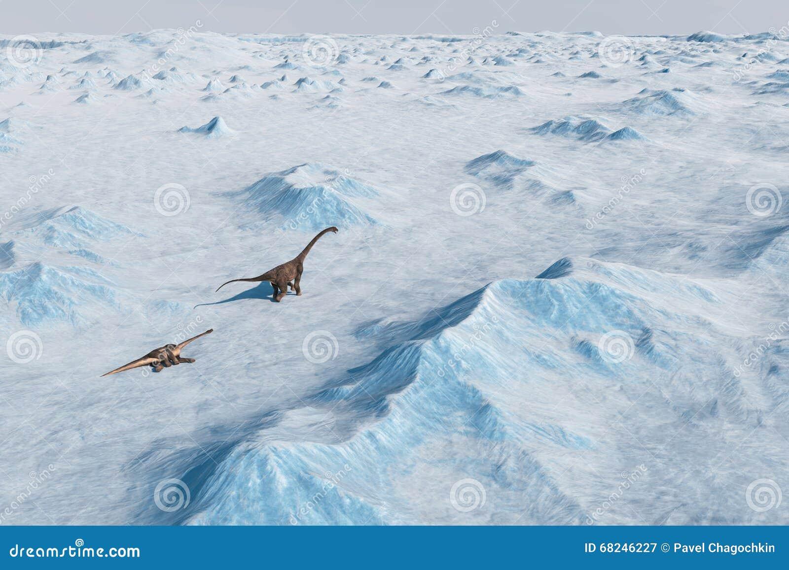 Dinosaurio Paisaje prehistórico de la nieve, valle del hielo con los dinosaurios Visión ártica