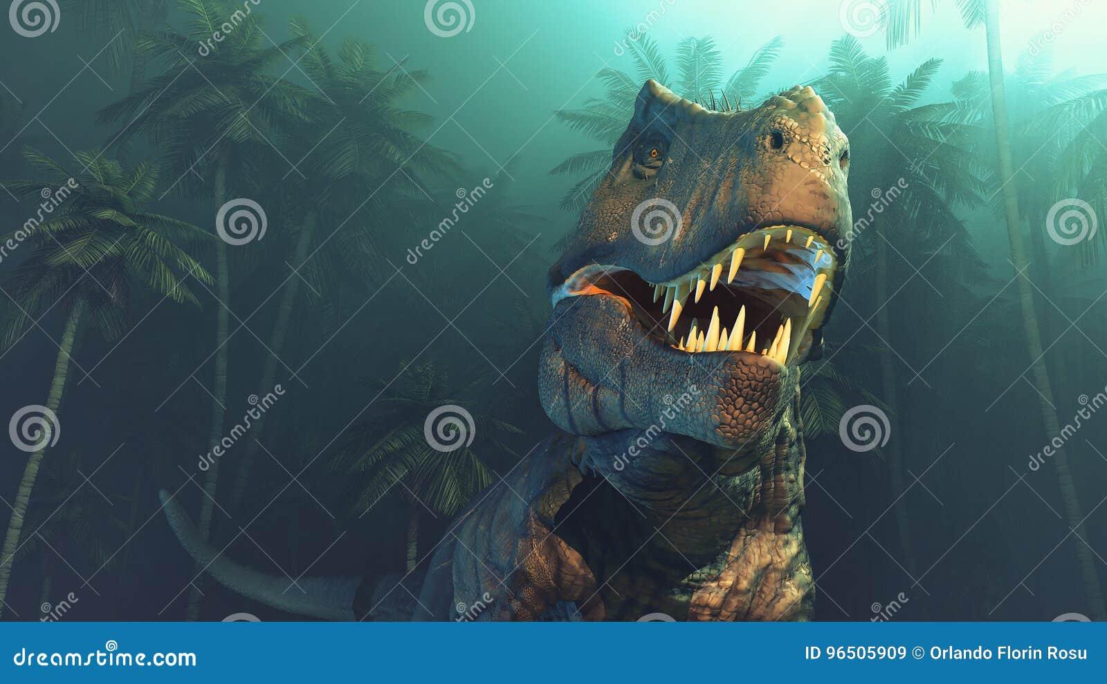 Dinosaurios de Dino con los colmillos grandes