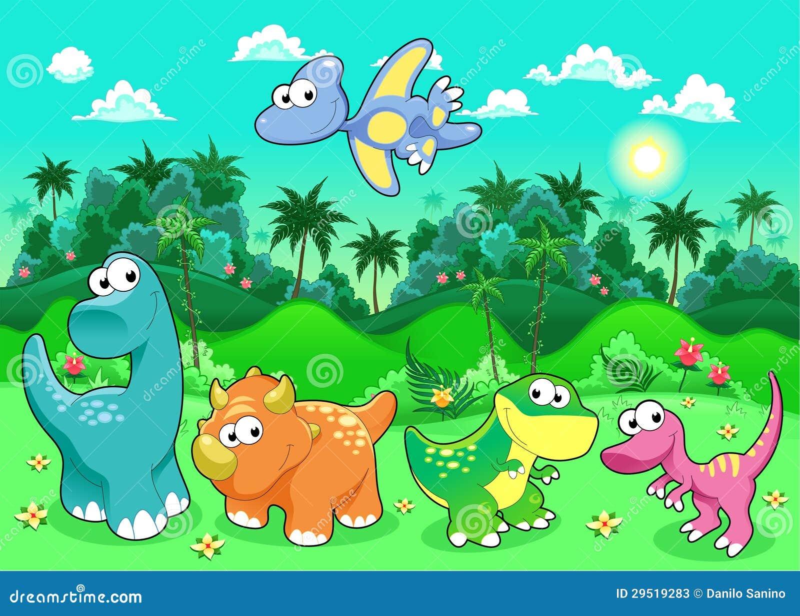 Dinosaurios divertidos en el bosque ilustraci n del for Imagenes de estanques para ninos
