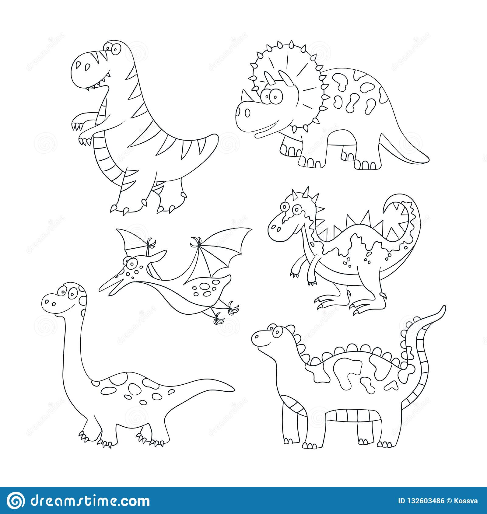 Dinosaurios y plantas prehistóricas Fije del ejemplo del vector en estilo del garabato y de la historieta