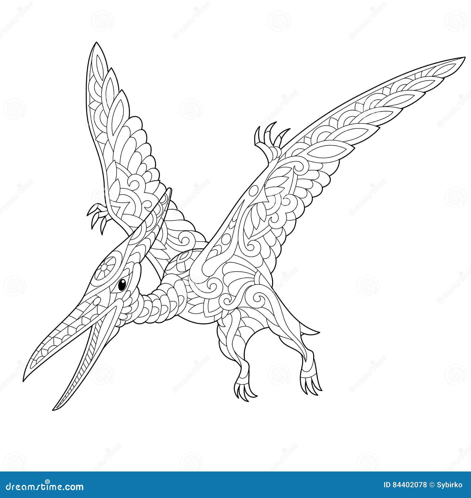 Dinosauro del pterodattilo di zentangle illustrazione - Immagini di dinosauro da colorare in ...