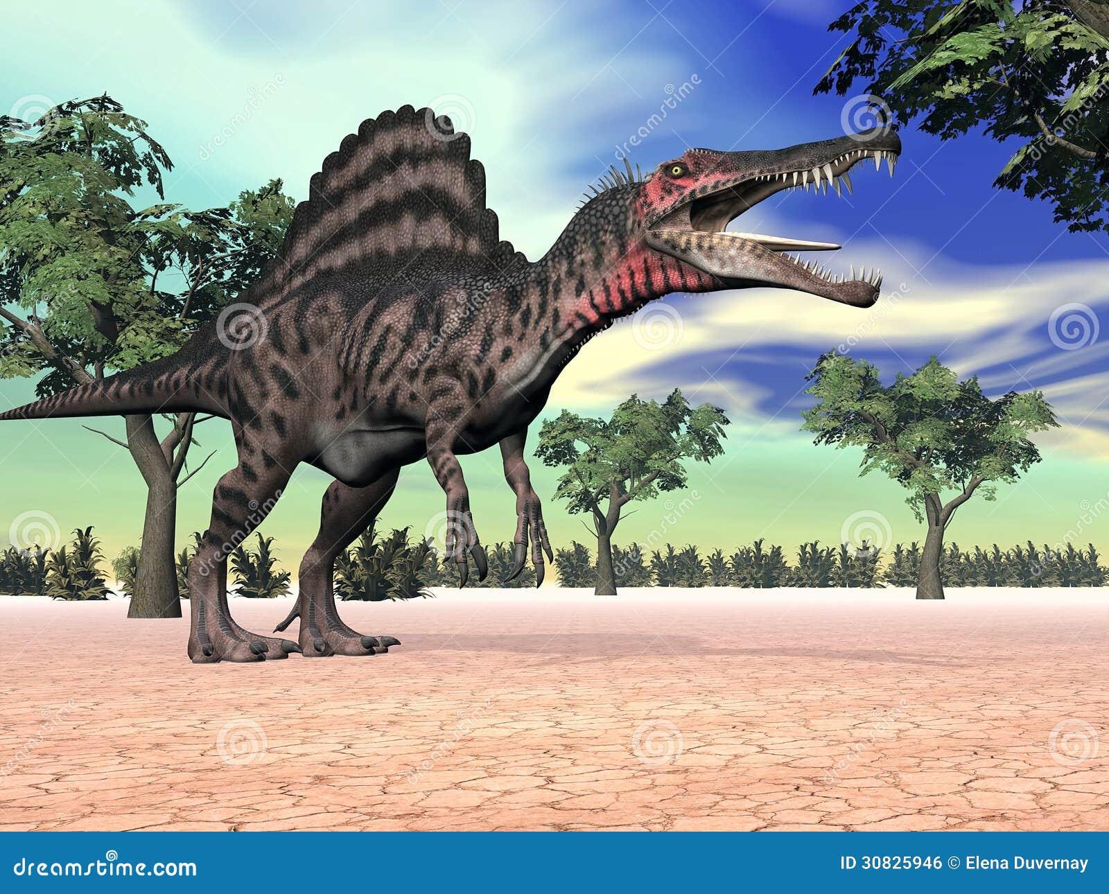 Dinosauro di Spinosaurus nel deserto - 3D rendono