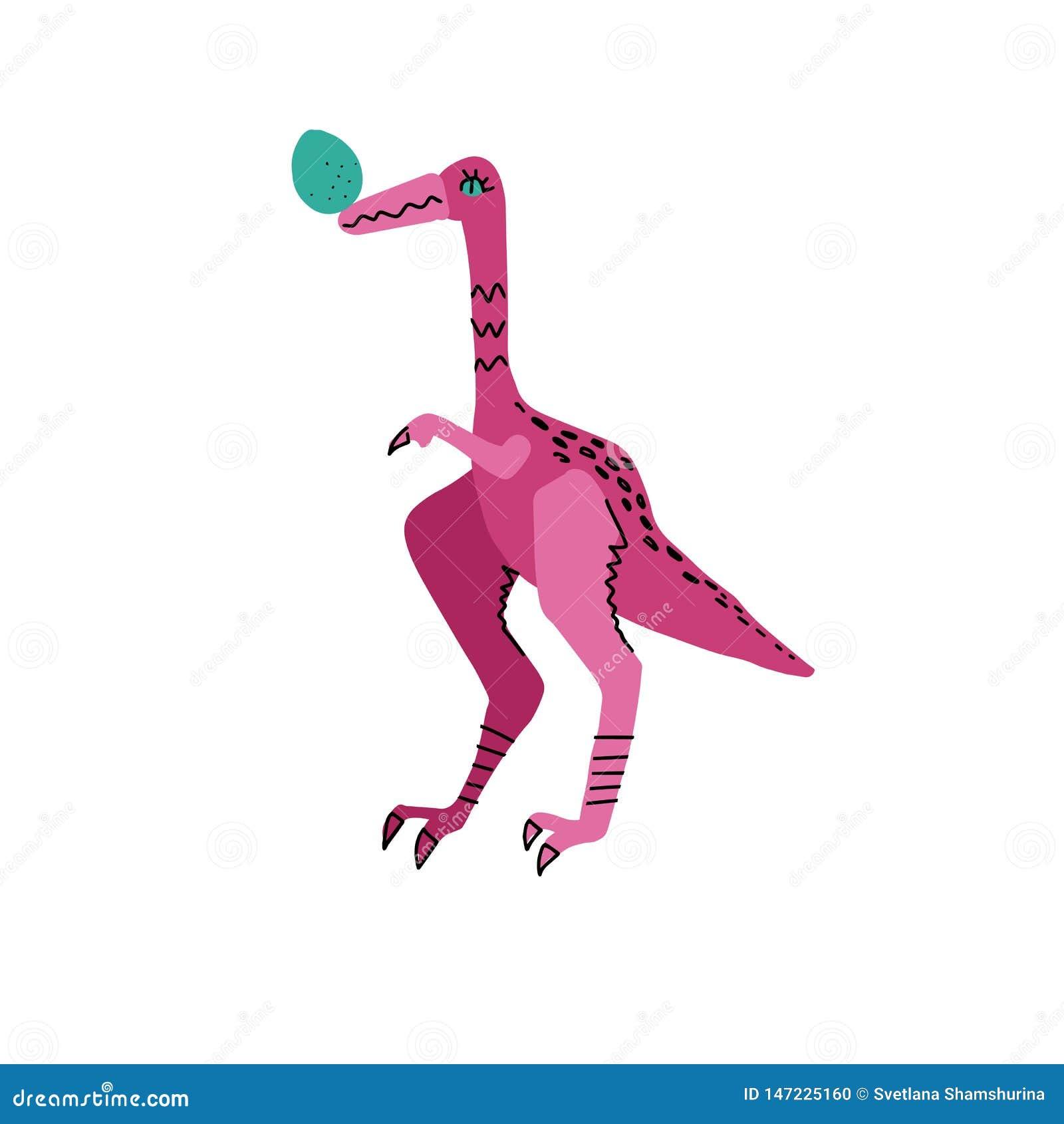 Dinosauro messo le piume a di Struthiomimus con il carattere disegnato a mano di colore dell uovo Linea sveglia e Dino piano Rett