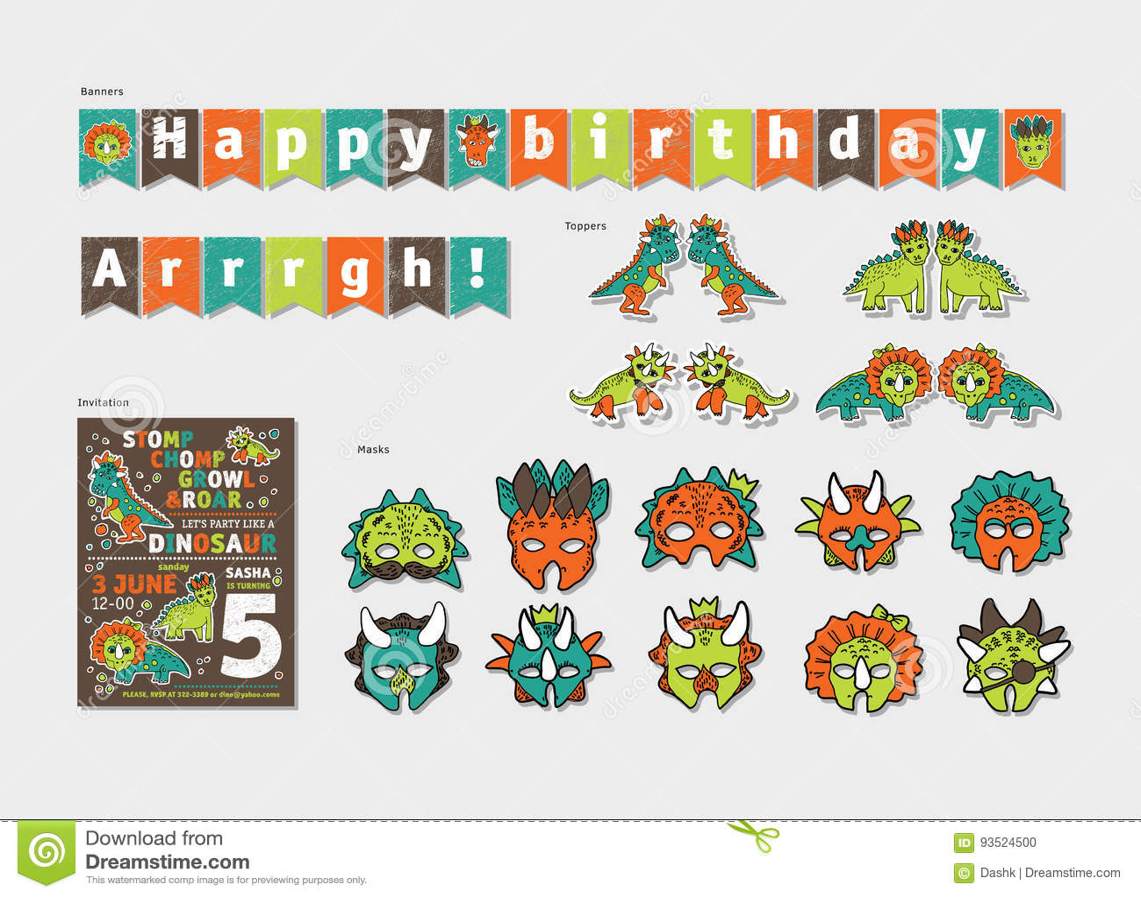 Dinosaurs Boy Birthday Party Decor Set. Stock Vector - Illustration ...