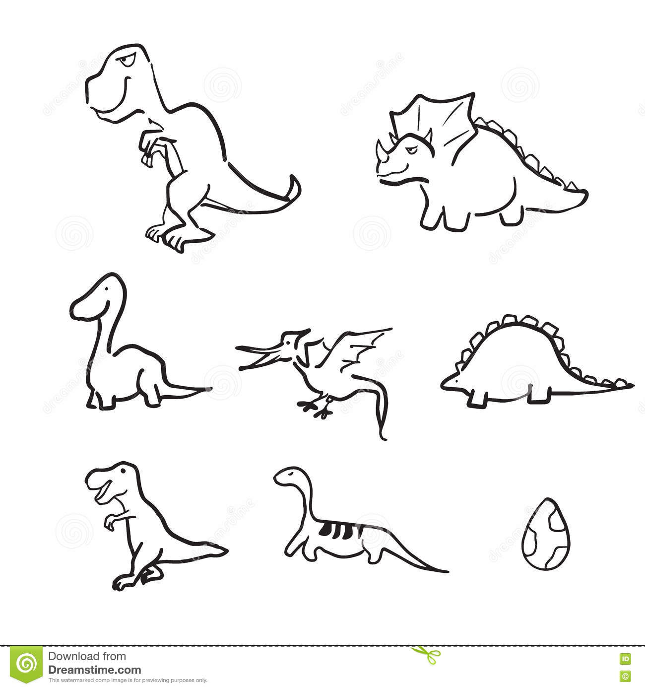 Line Drawing Dinosaur : Dinosaurs cartoon line drawing doodle stock vector image
