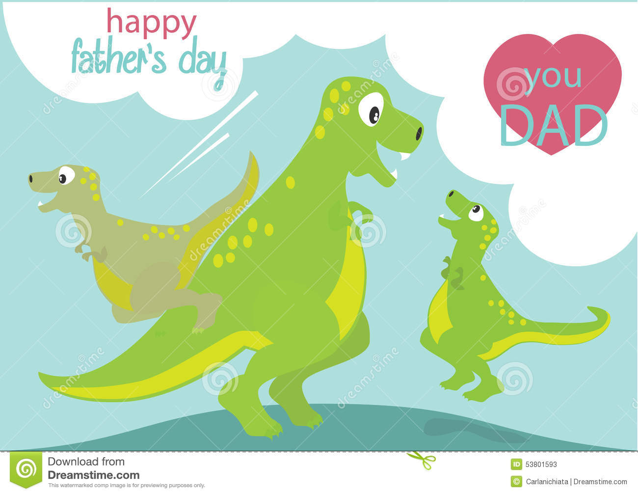 Dinosaurs playing with Dad. Happy father's day. Love you Dad text.