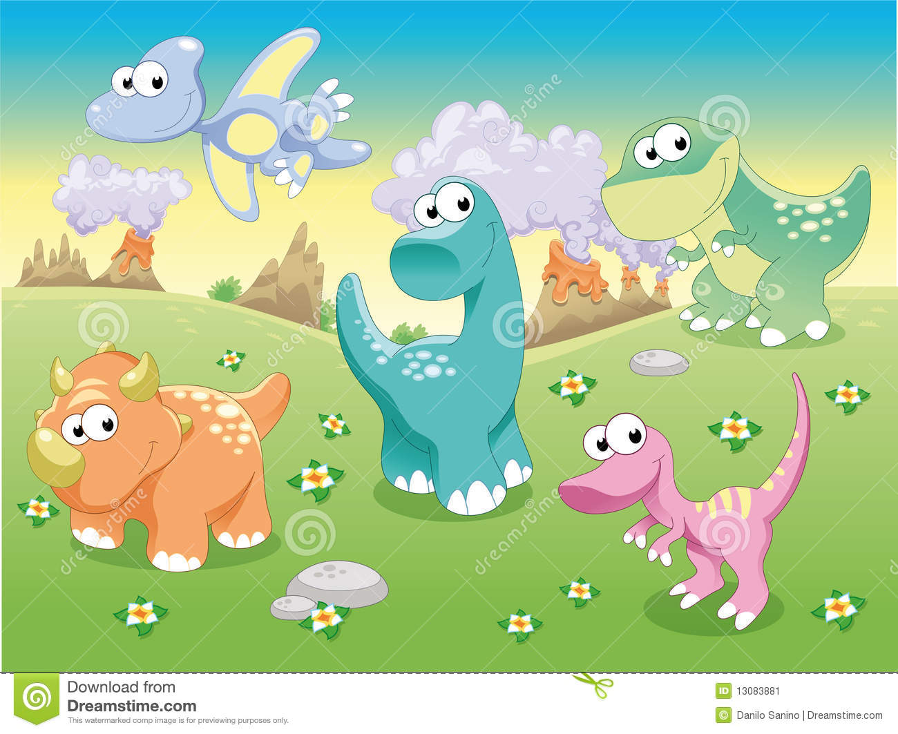 Dinosaurs Family With Background Stock Vector Illustration Of