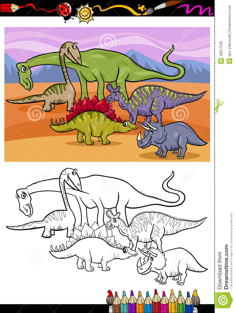 dinosaurs group cartoon coloring book stock vector image 40617533. Black Bedroom Furniture Sets. Home Design Ideas