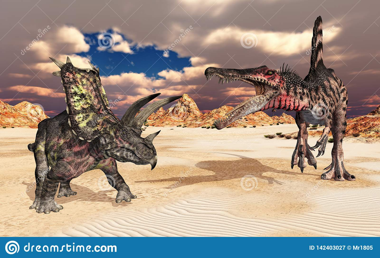 The dinosaurs Pentaceratops and Spinosaurus in a landscape