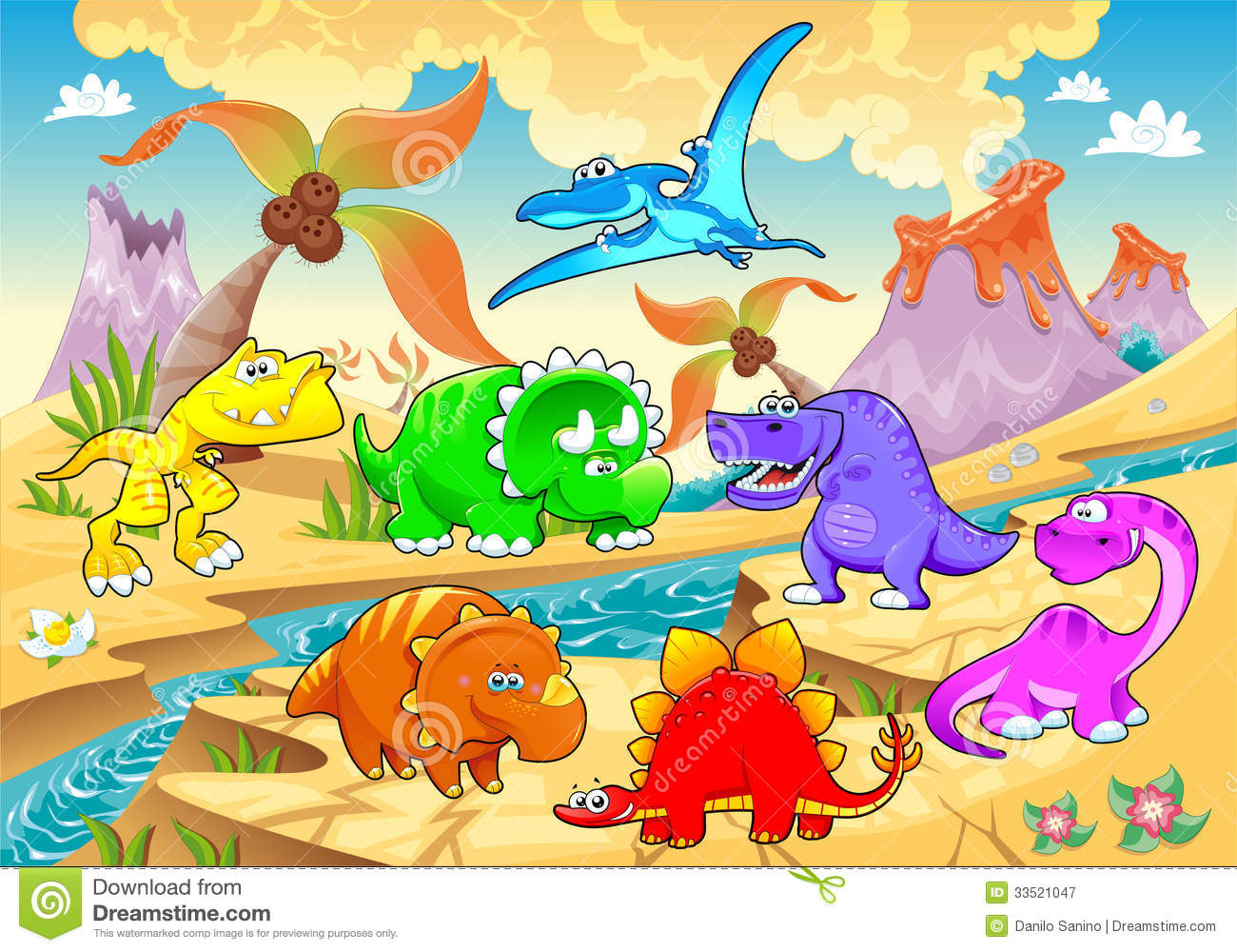 Dinosaurs Rainbow In Landscape Stock Vector Image 33521047