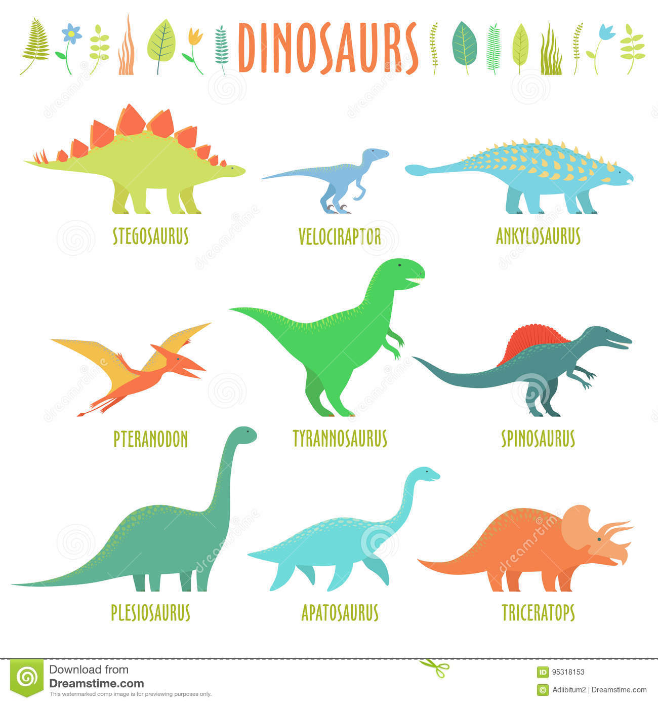 Dinosaurs Types Stock Vector - Image: 95318153