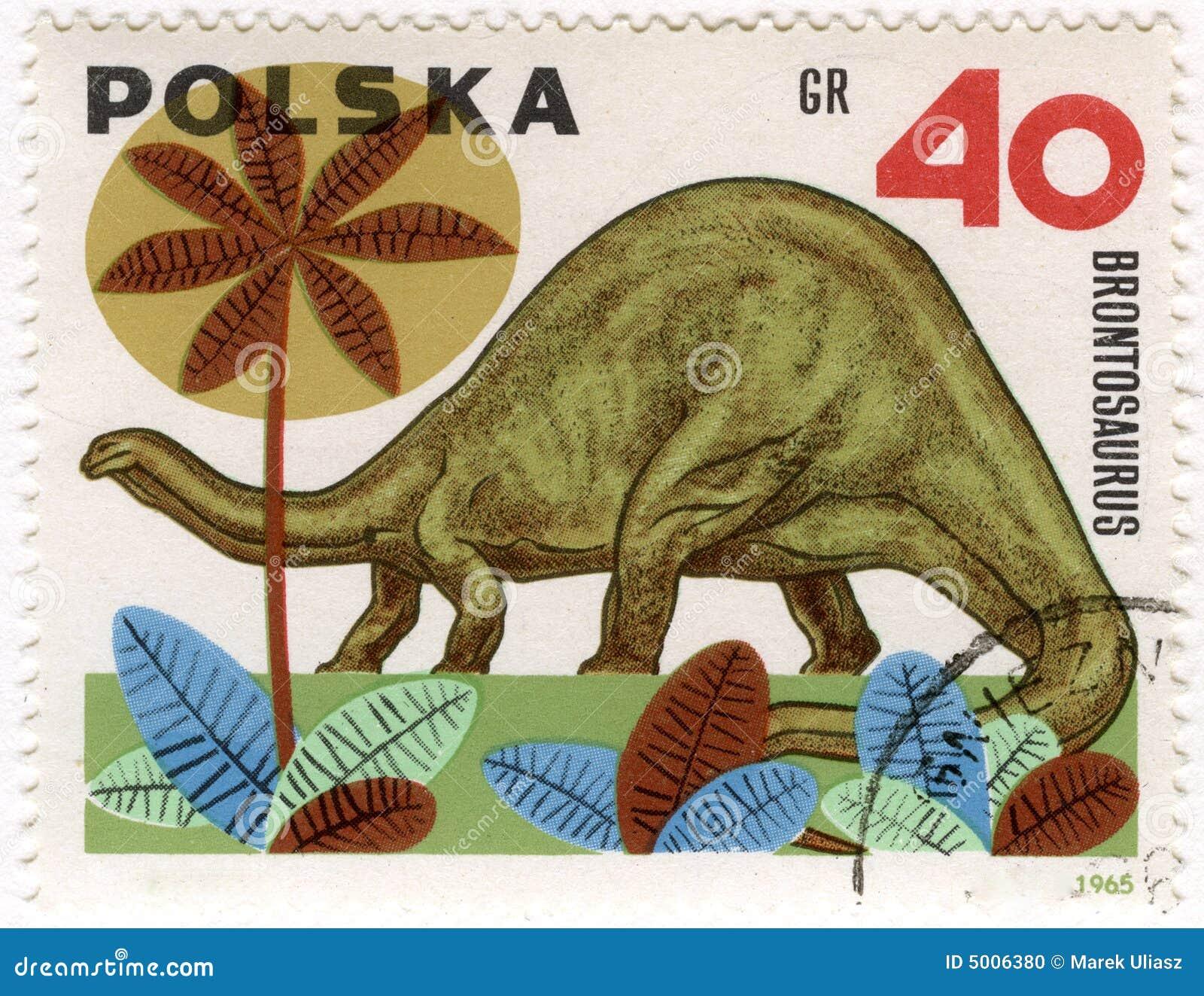Dinosaurus (brontosaurus) op een uitstekende postzegel