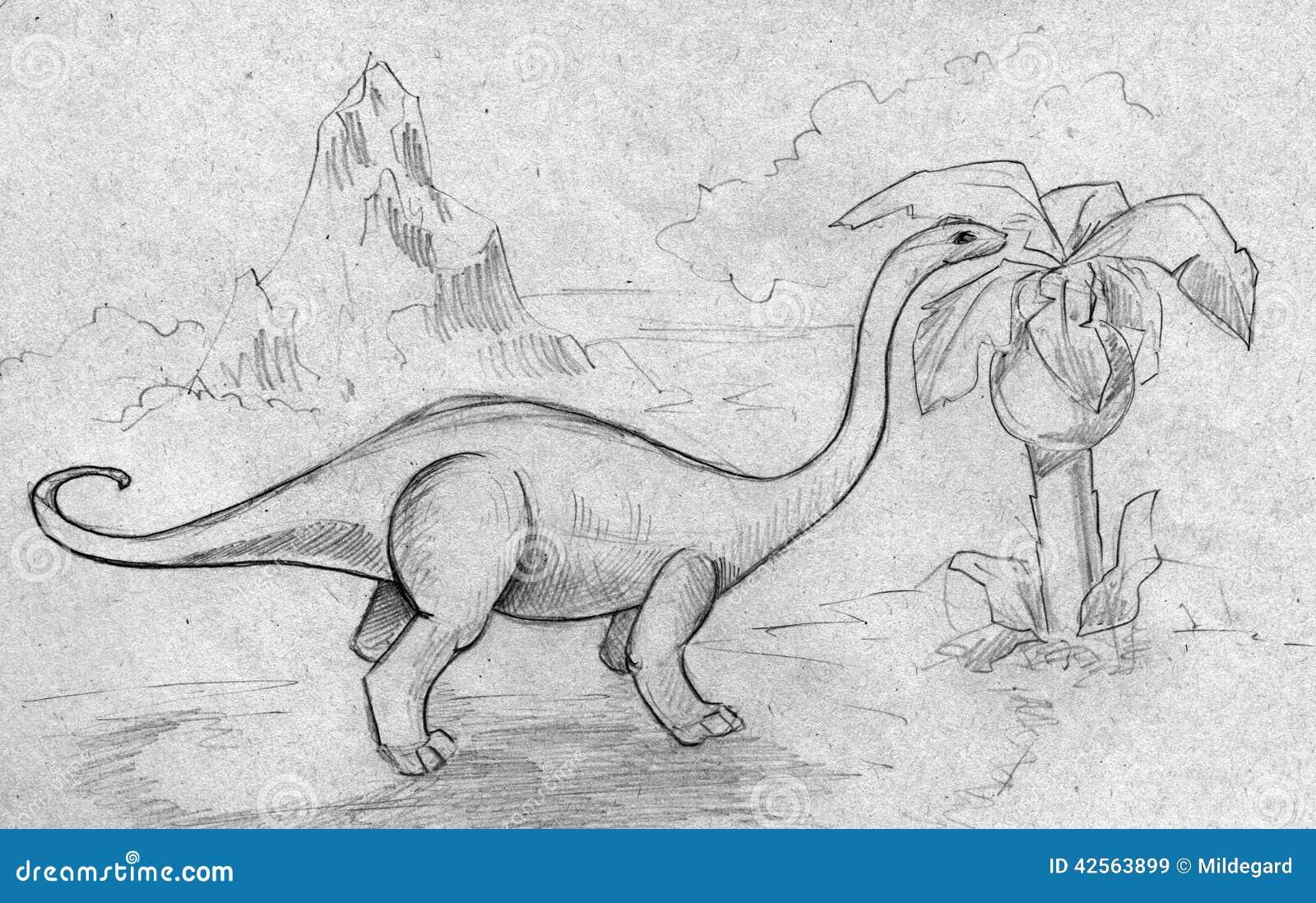 Dinosaurus het voeden op installaties