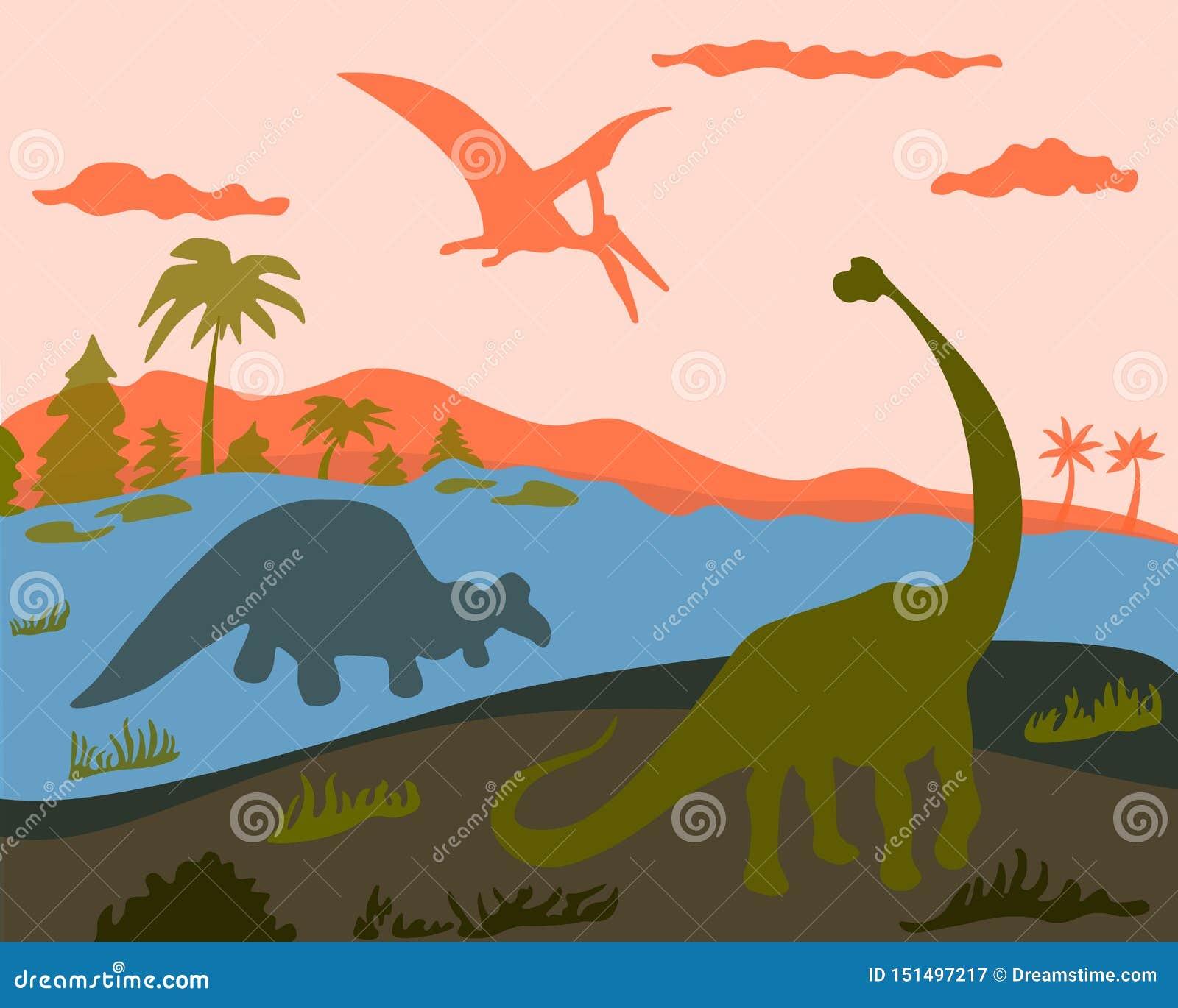 3 dinosaurussen op land, water en land