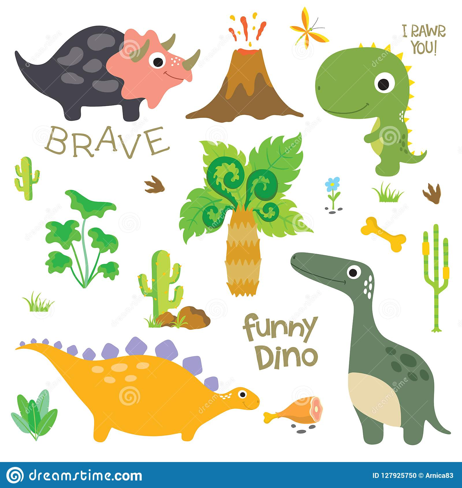 Dinosaurusvoetafdruk, Vulkaan, Palm en andere ontwerpelementen