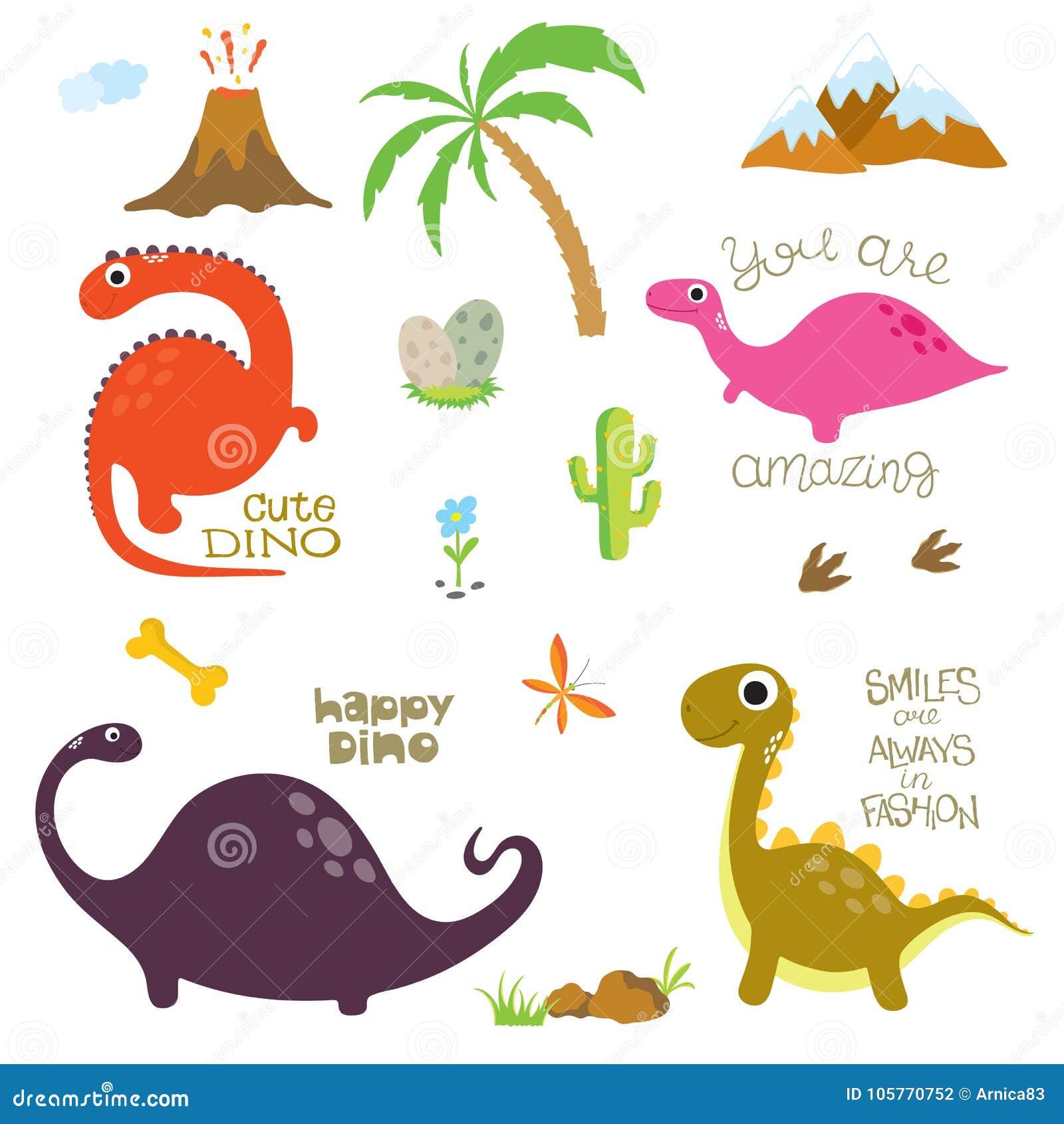 Dinosaurusvoetafdruk, Vulkaan, Palm, Stenen, Been en Cactus