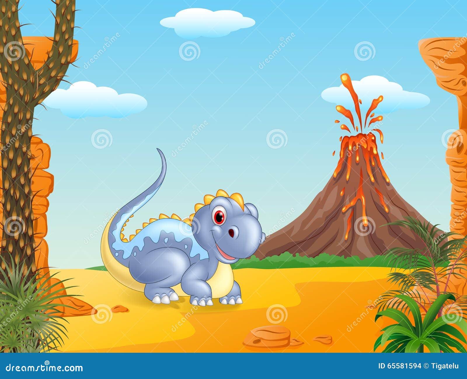 Dinossauro adorável que senta-se com fundo do vulcão