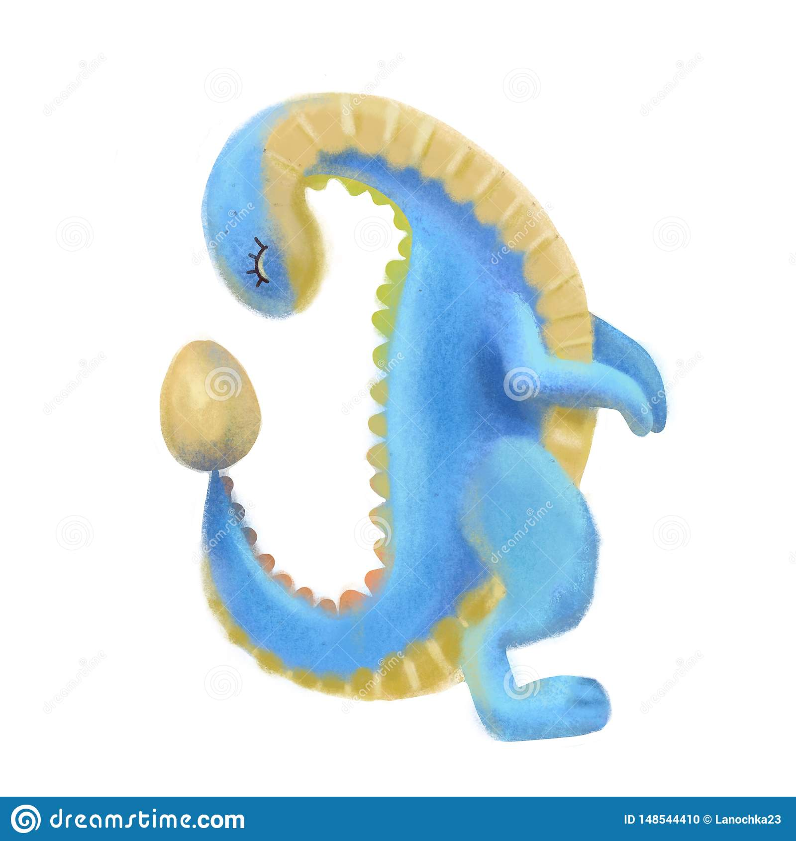 Dinossauro bonito azul e amarelo que olha no ovo Ilustração textured pastel tirada mão de Dino dos desenhos animados do volume 3d