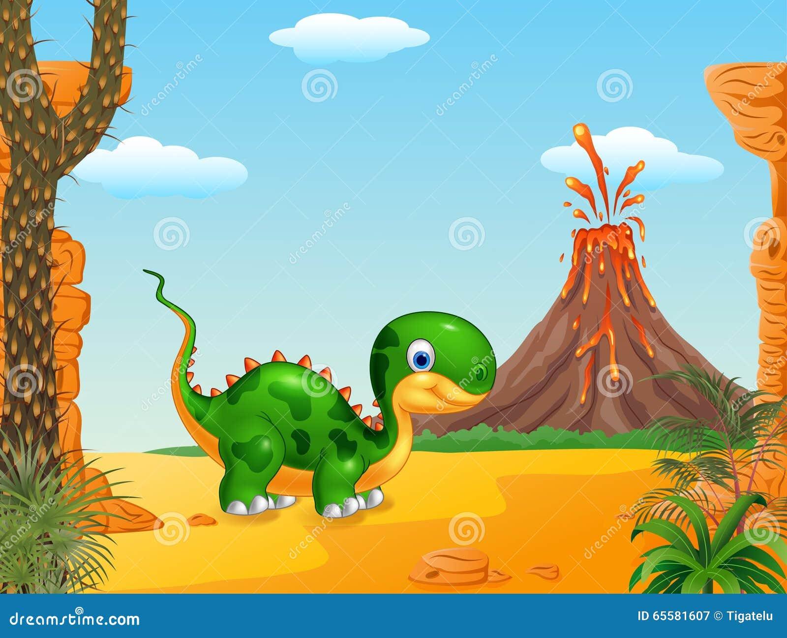 Dinossauro bonito do bebê que levanta no fundo do deserto