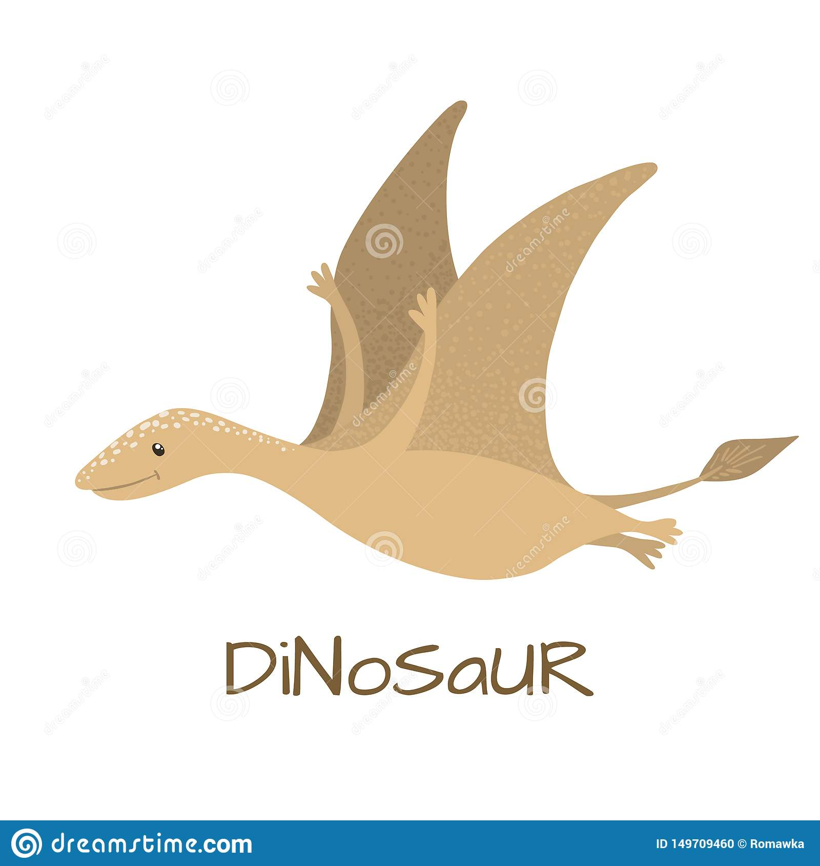 Dinossauro bonito do pterodátilo do bebê isolado no branco