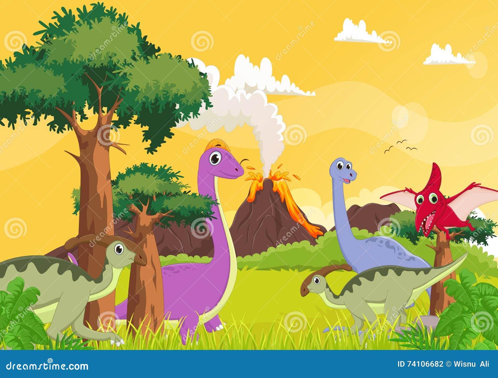 Dinossauro Bonito Dos Desenhos Animados Com Fundo Do Vulcao