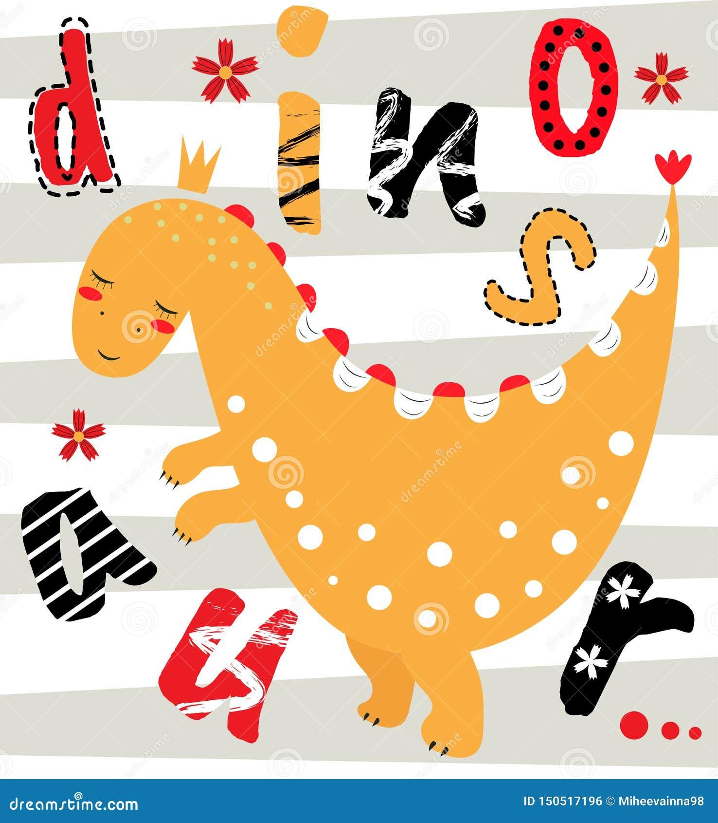 Dinossauro Bonito No Cartao Com A Inscricao Ilustra O Do Vetor