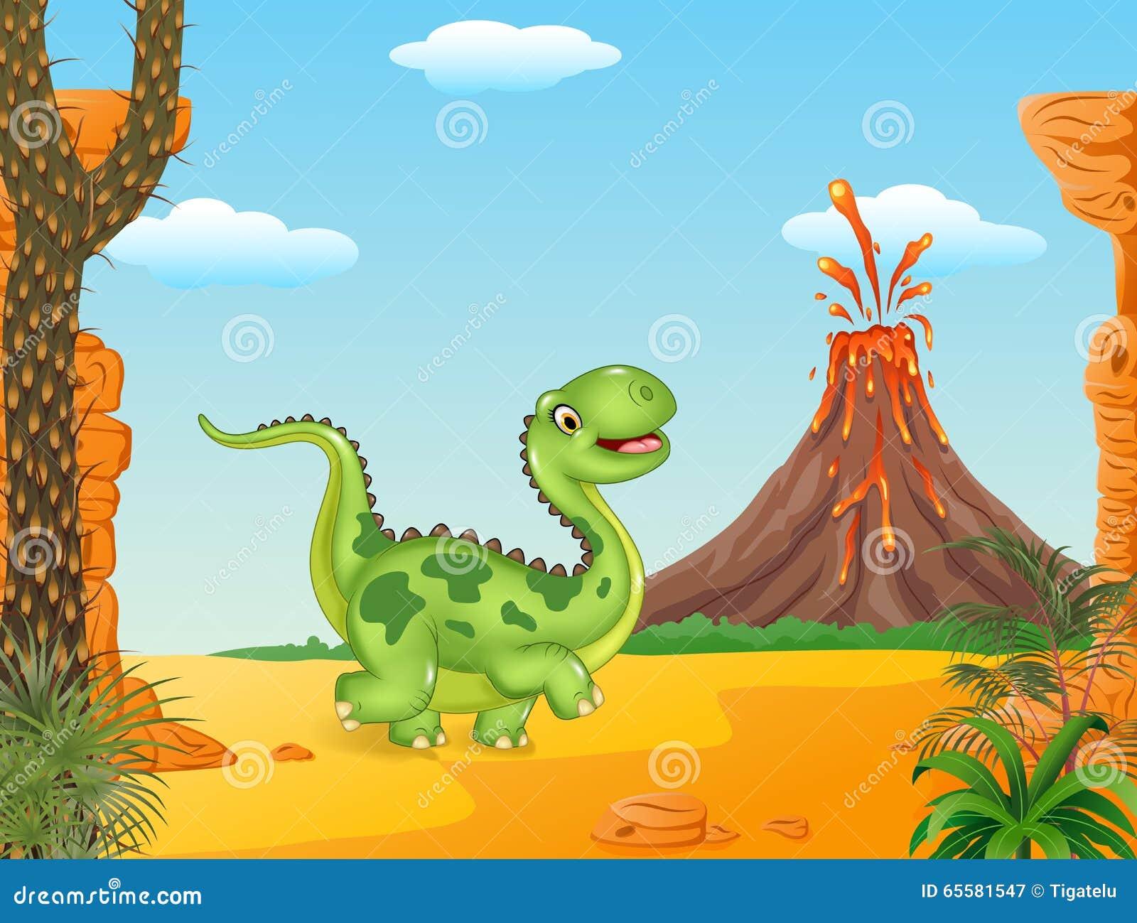 Dinossauro bonito que corre no fundo pré-histórico
