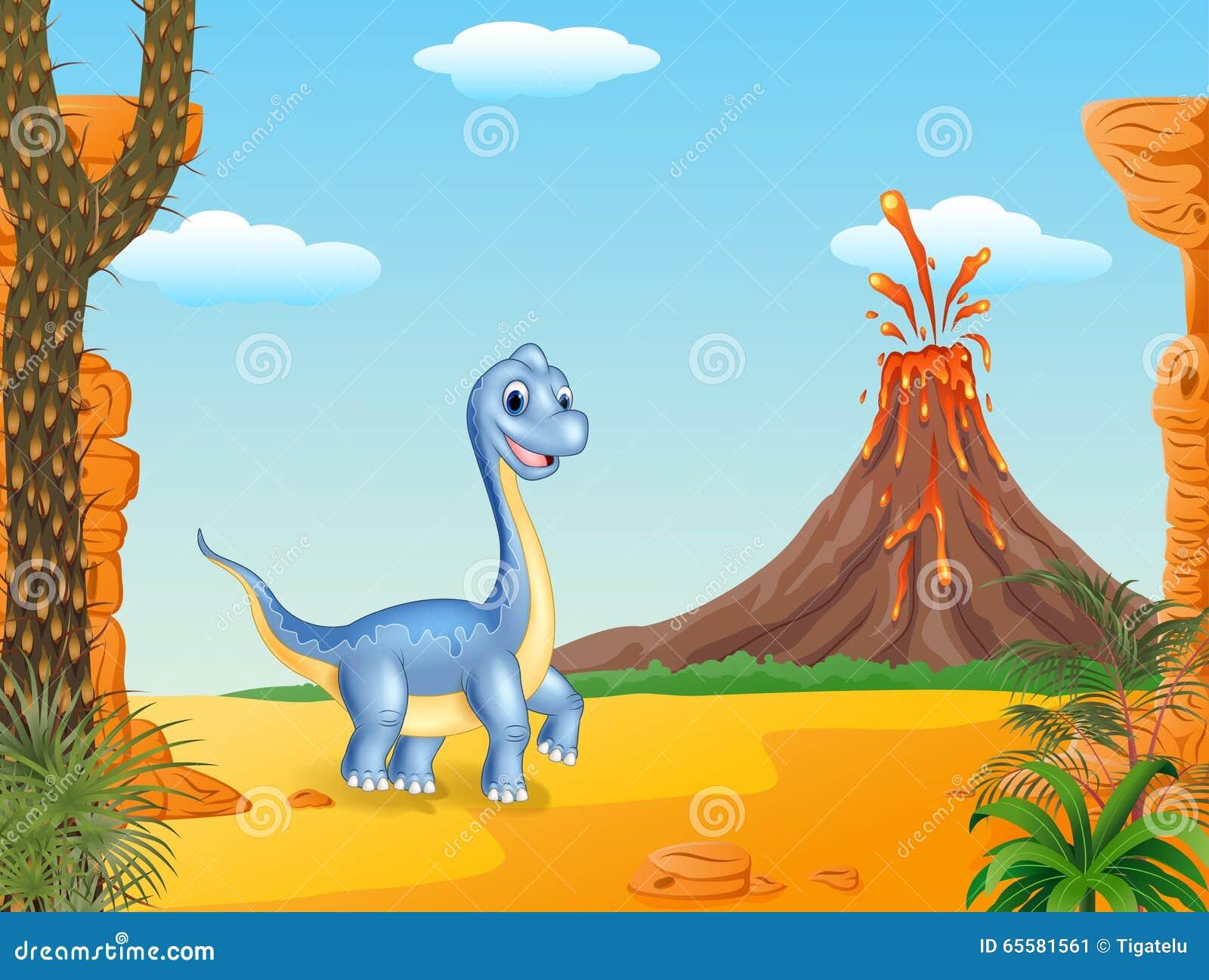 Dinossauro bonito que levanta com o fundo pré-histórico