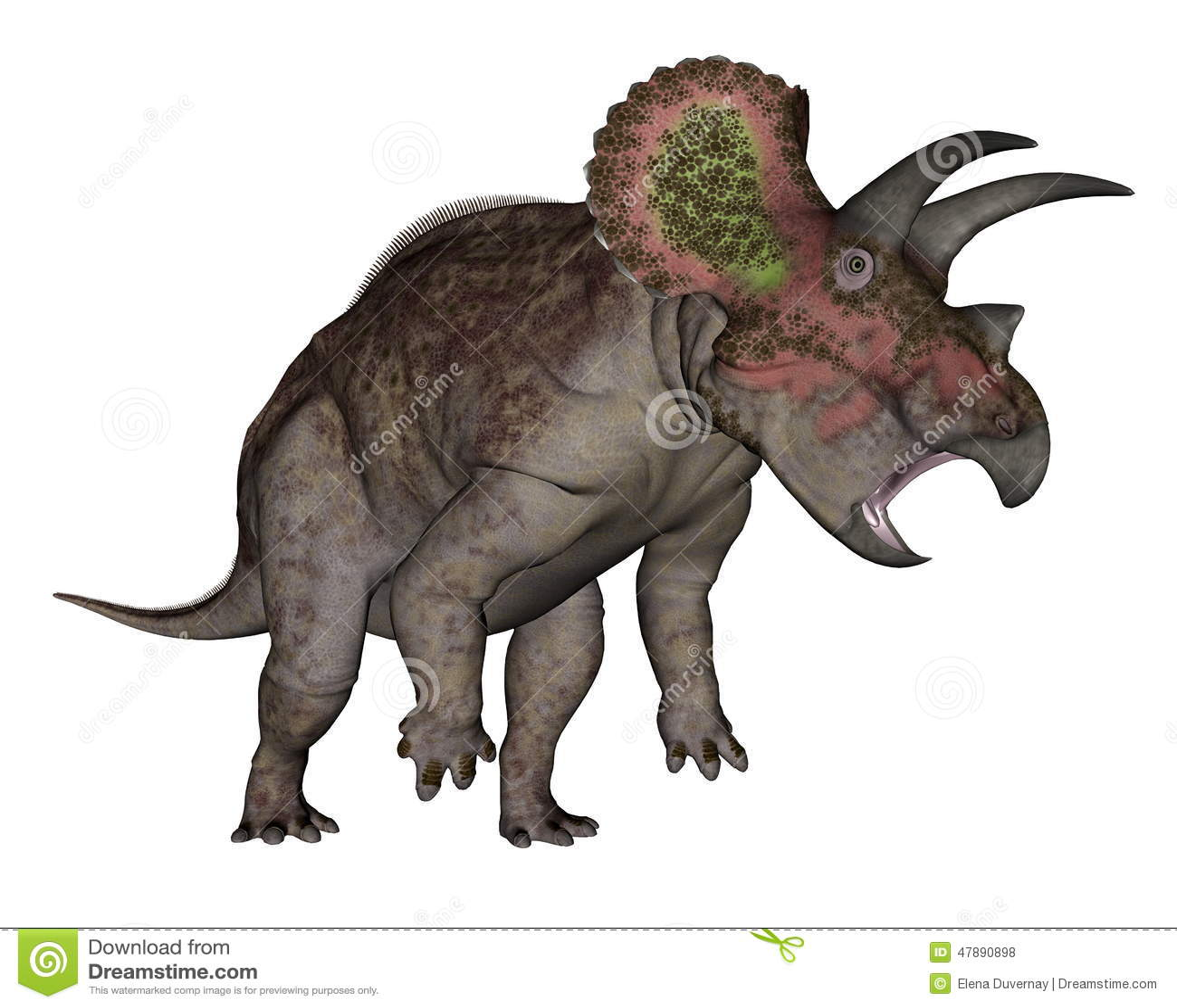 Dinossauro do Triceratops que levanta-se - 3D rendem