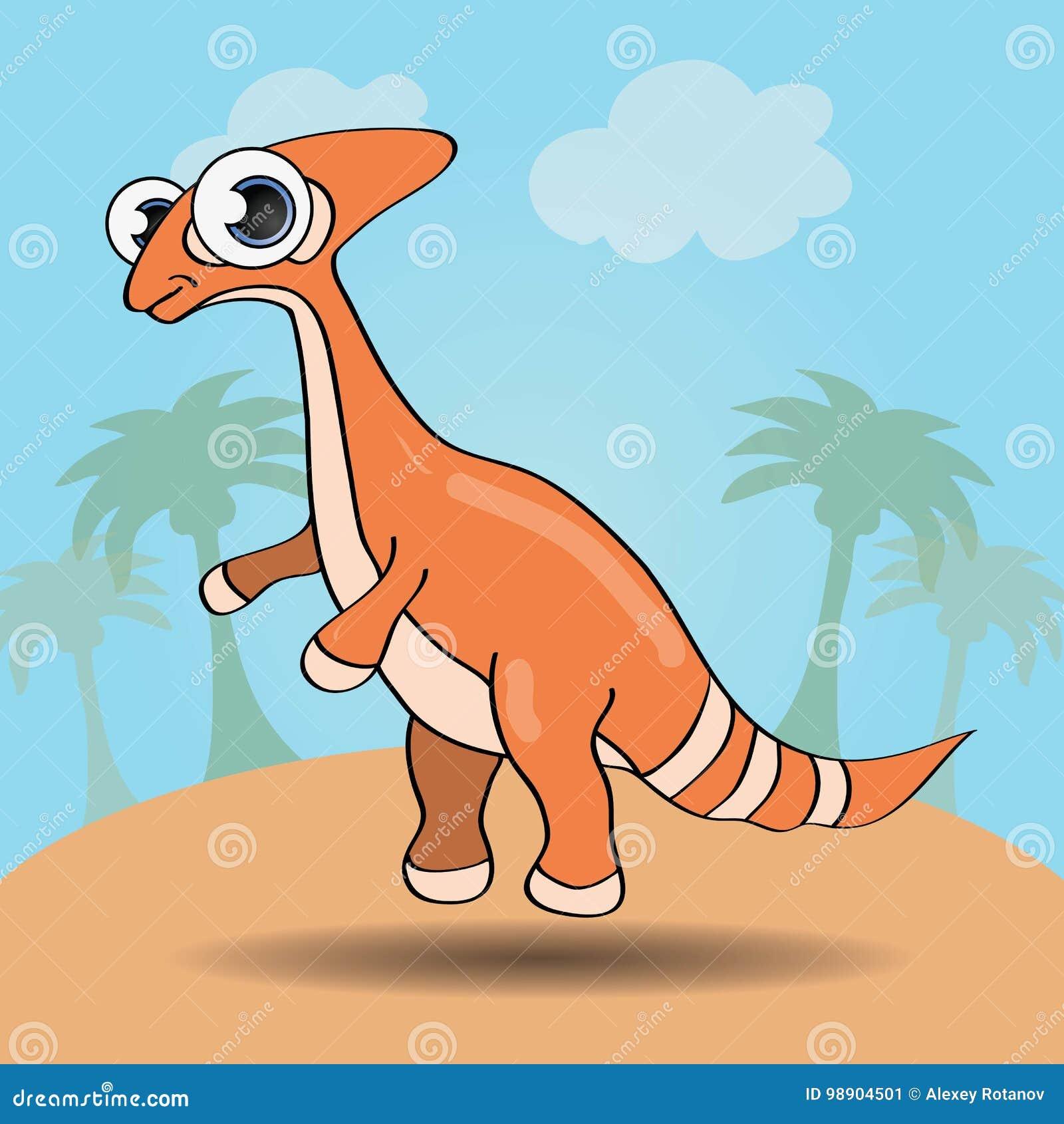 Dinossauro engraçado do estilo dos desenhos animados