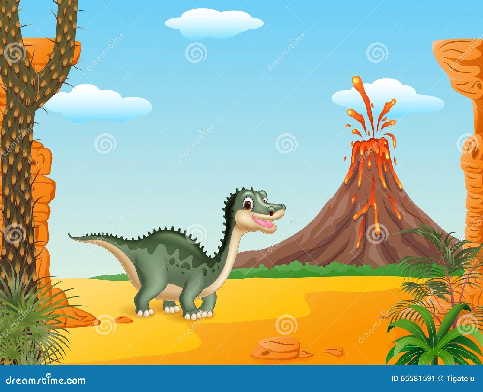 Dinossauro engraçado dos desenhos animados com fundo do vulcão