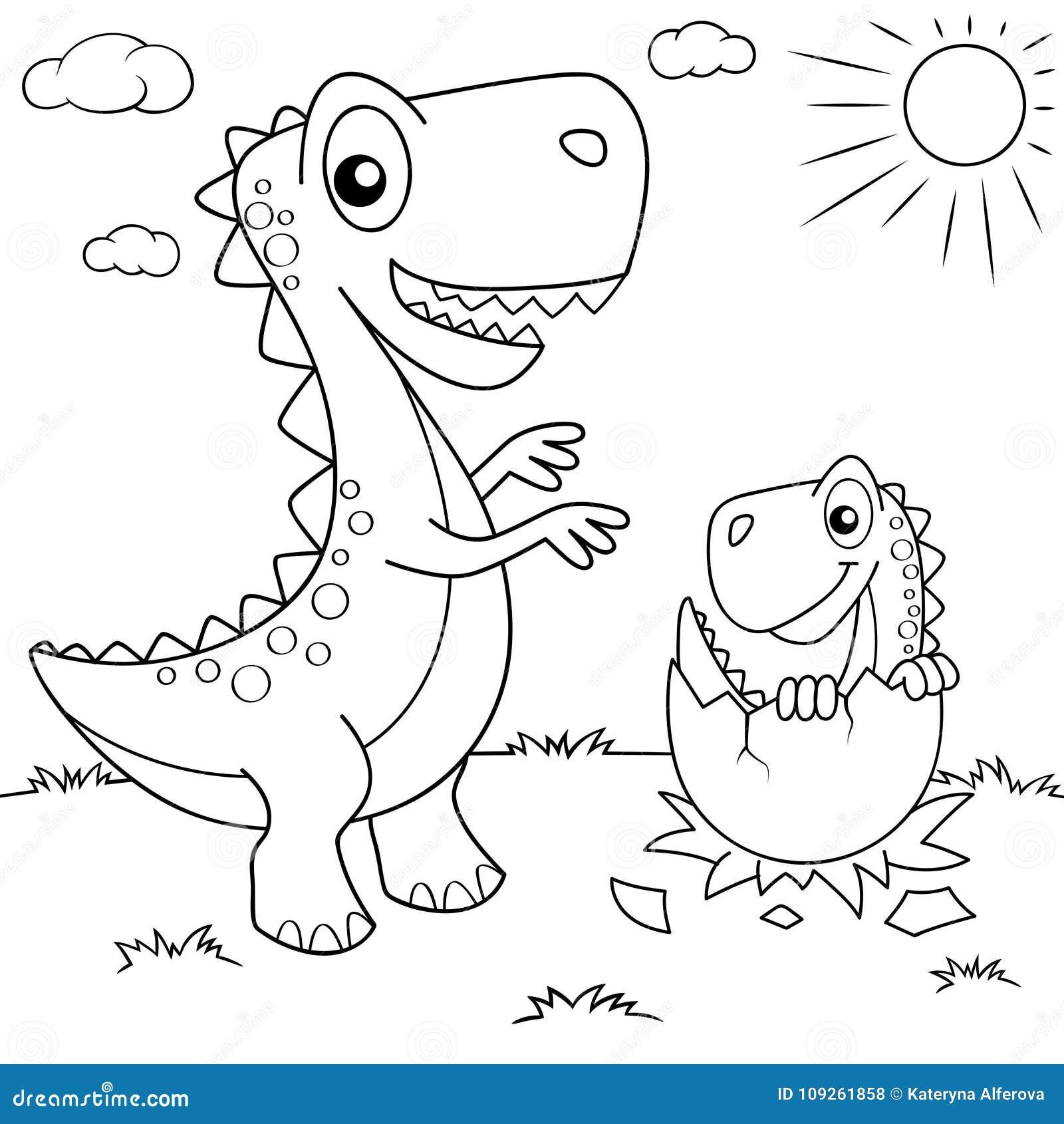 Dinossauro engraçado dos desenhos animados e seu ninho com Dino pequeno Ilustração preto e branco do vetor para o livro para colo