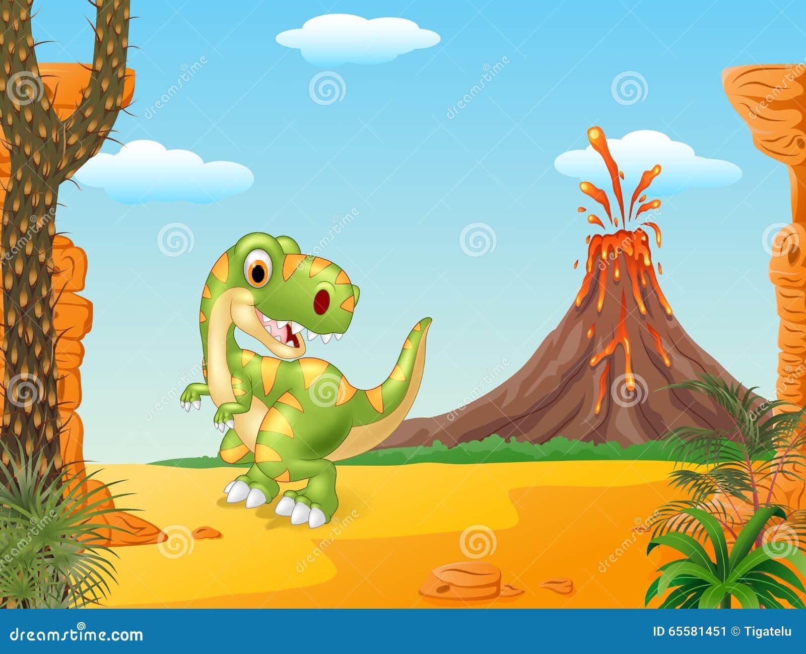 Dinossauro feliz do tiranossauro dos desenhos animados no fundo do vulcão
