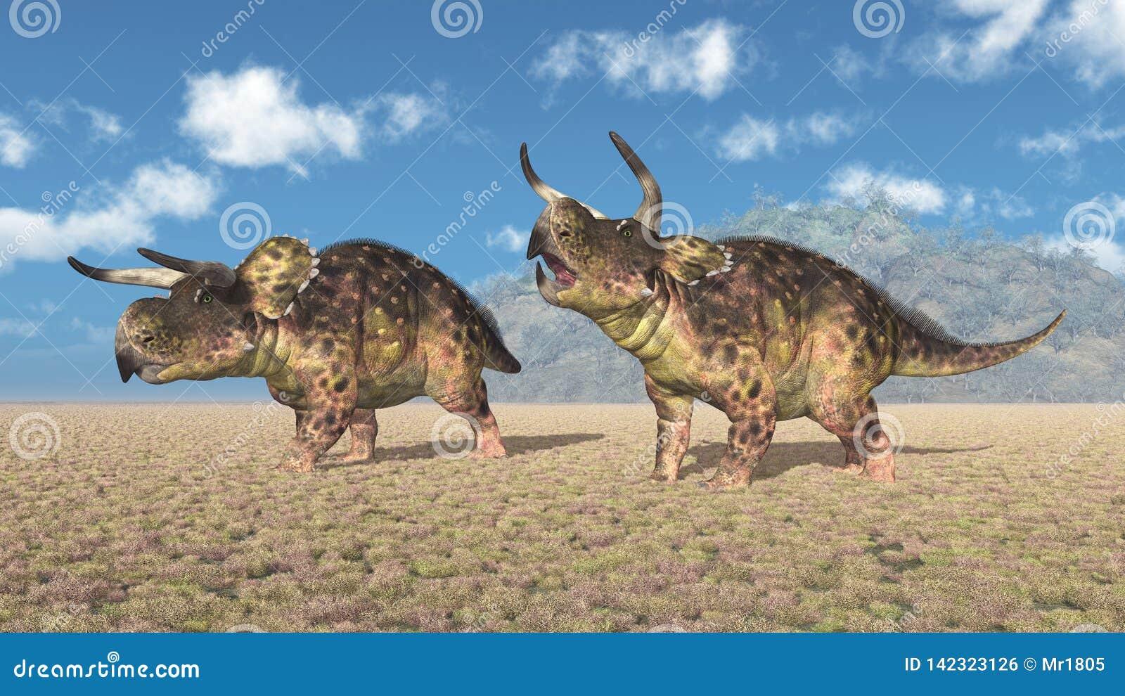 Dinossauro Nasutoceratops em uma paisagem