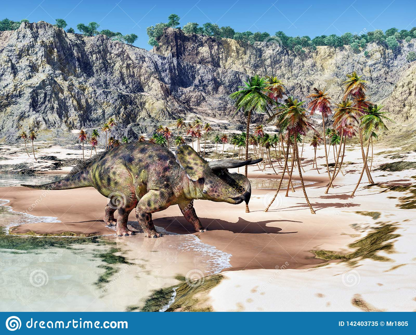 Dinossauro Nasutoceratops na praia