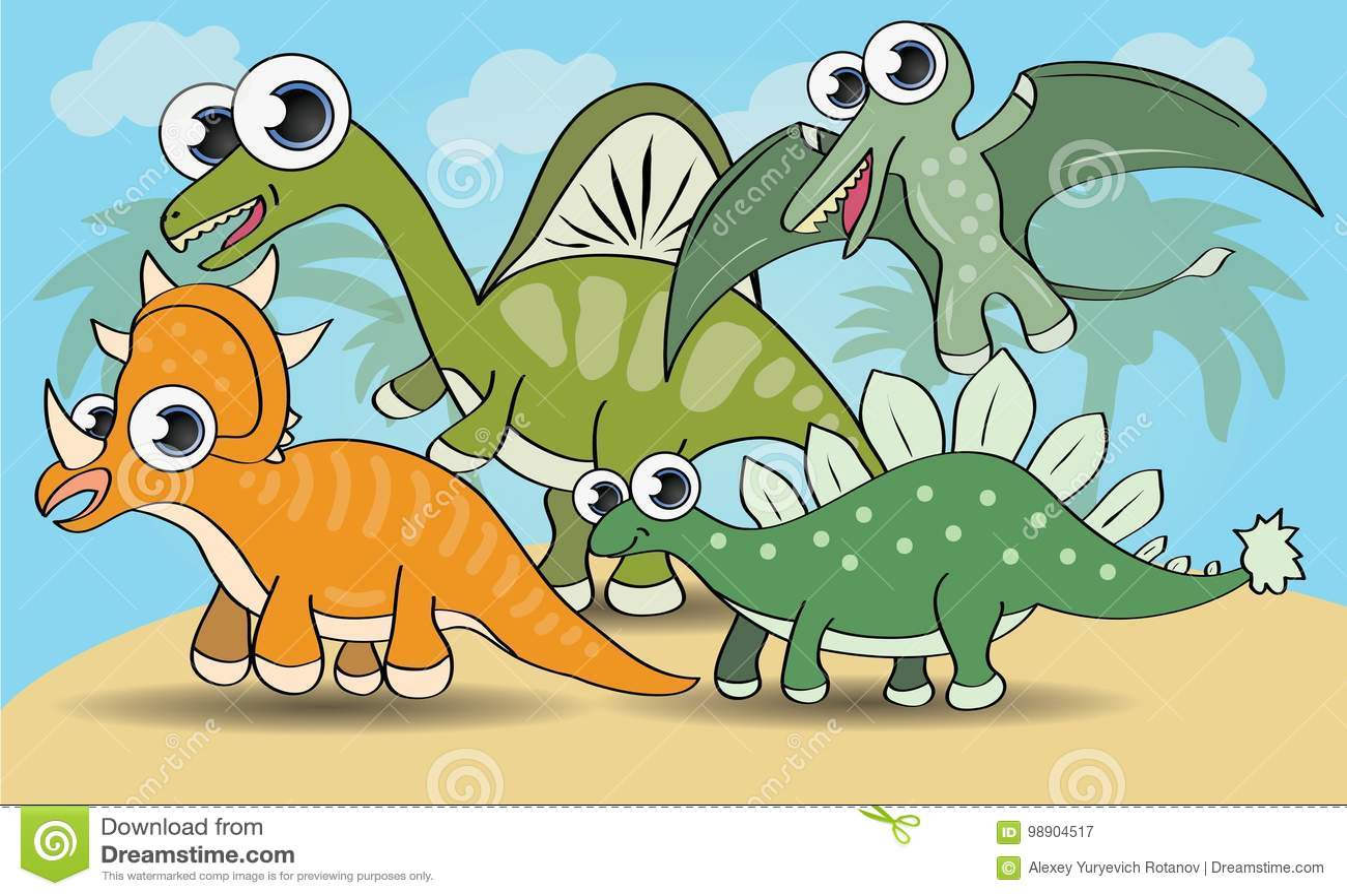 Dinossauros bonitos do estilo dos desenhos animados ajustados