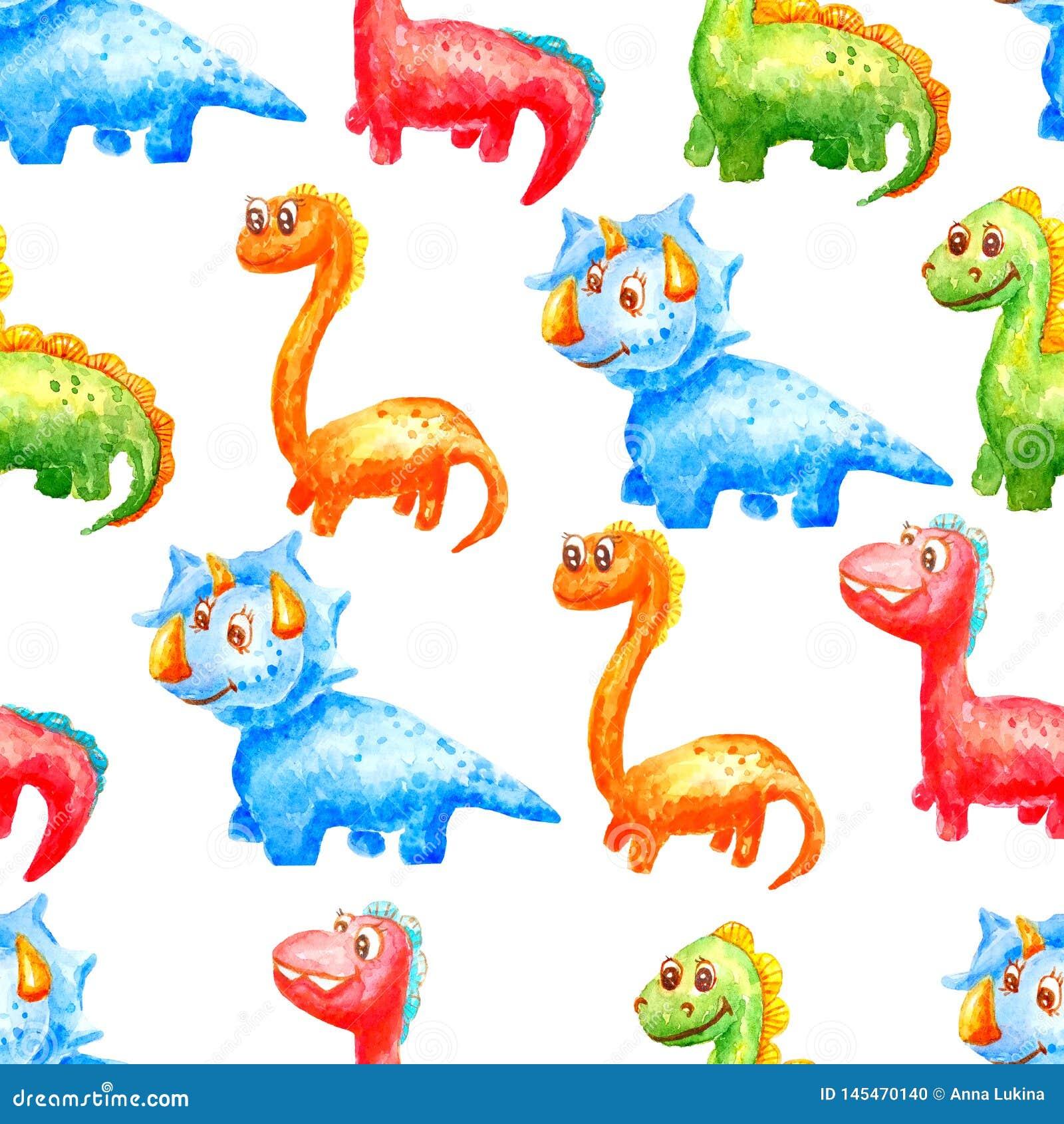 Dinossauros bonitos do teste padrão sem emenda da aquarela de cores e de tipos diferentes em um fundo branco