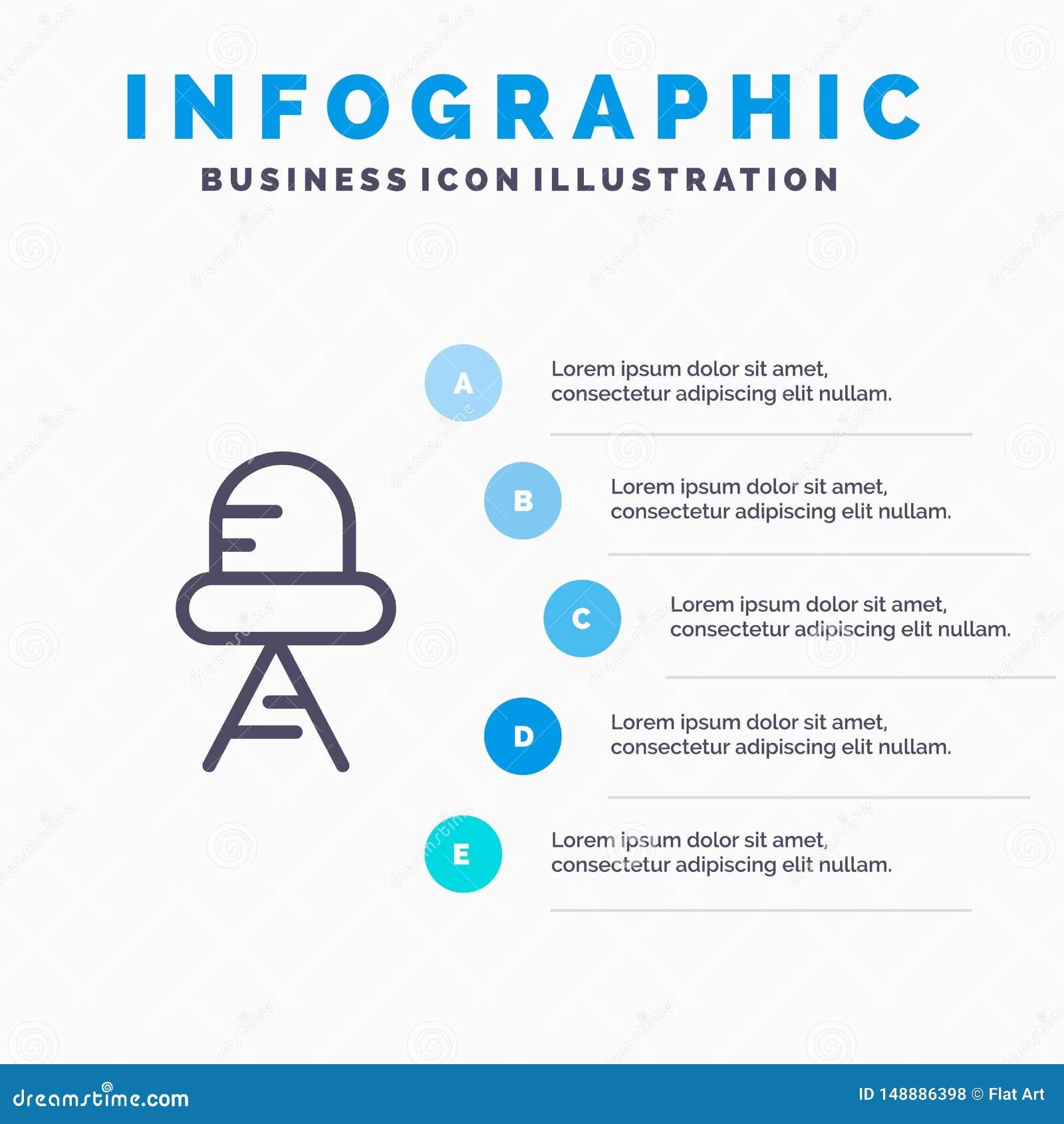Diode, Geleid, Licht Lijnpictogram met infographicsachtergrond van de 5 stappenpresentatie