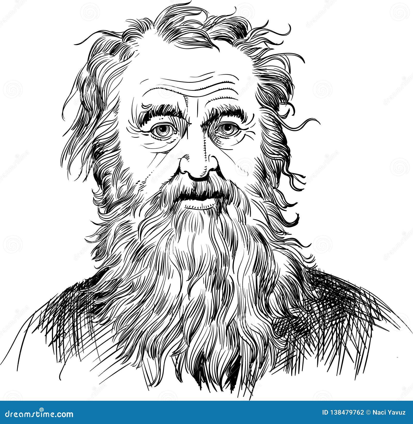 Diogenes Of Sinope Portrait In Line Art Illustration